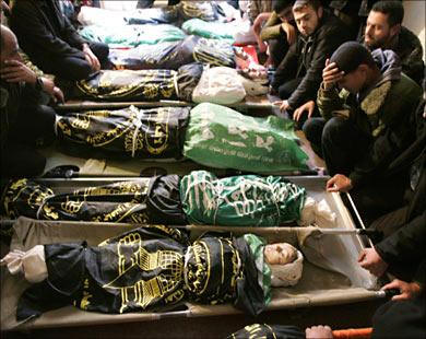Dead Palestinian children after Israel drops bombs in residential area